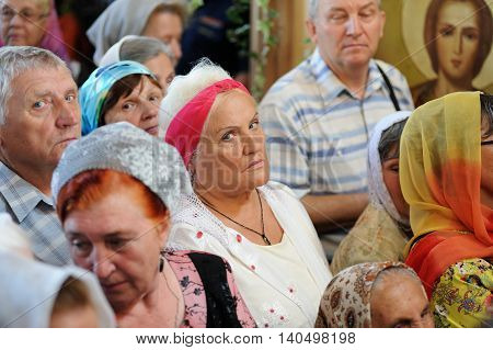 Orel Russia - July 28 2016: Russia baptism anniversary Divine Liturgy. Senior women and men parishioners in church