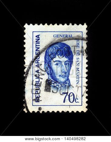 ARGENTINA - CIRCA 1973: a stamp printed in the Argentina shows Jose de San Martin, General, circa 1973