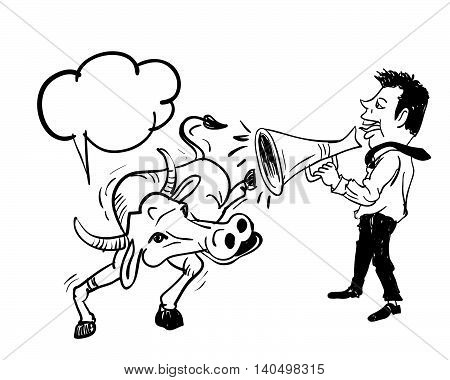 Business man speaking by using bullhorn to buffaloconcept communication to anyone but useless