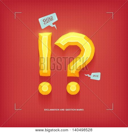 Exclamation and question marks. Golden jewel typeface element. Gold casted. Vector illustration.