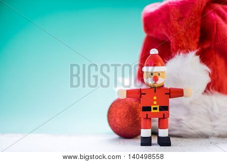 Santa Christmas Hat And Wooden Toy