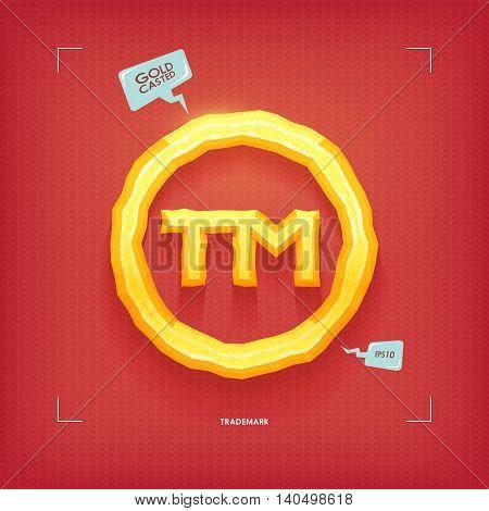 Trademark symbol. Golden jewel typeface element. Gold casted. Vector illustration.