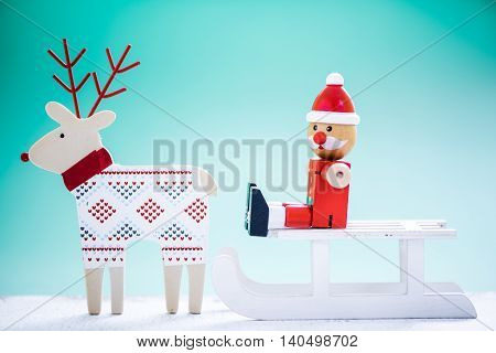 Reindeer With Sled And Funny Santa