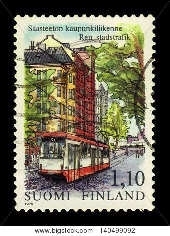 FINLAND - CIRCA 1979: a stamp printed in Finland shows tram in Helsinki, Finland, series exhaust fumes free city traffic, circa 1979