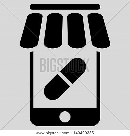 Online Pharmacy icon. Glyph style is flat iconic symbol with rounded angles, black color, light gray background.
