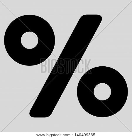 Percent icon. Glyph style is flat iconic symbol with rounded angles, black color, light gray background.