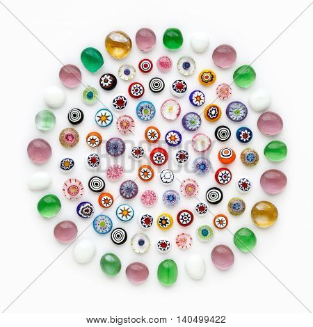 many of the beads from colorful glass. multi-colored Venetian glass Murano glass millefiori
