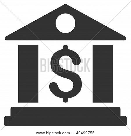 Bank Office icon. Glyph style is flat iconic symbol with rounded angles, gray color, white background.