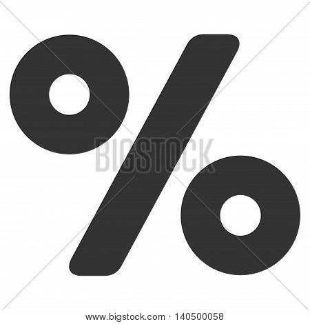 Percent icon. Glyph style is flat iconic symbol with rounded angles, gray color, white background.