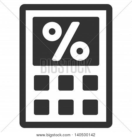 Tax Calculator icon. Glyph style is flat iconic symbol with rounded angles, gray color, white background.