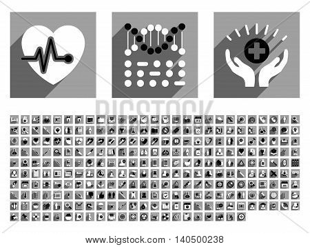 Medical vector icon set with 256 items. Style is flat black and white icons with long shadow on gray square backgrounds.