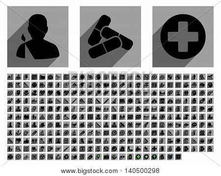 Medical glyph icon set with 282 icons. Style is flat black symbols with long shadow on gray square backgrounds.