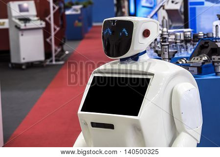 Robot on the exhibition, modern communication technology