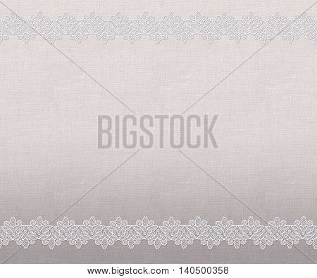 Pattern seamless. Old style. Fine weaving mosaic. Vintage background. Horizontal border. Delicate openwork lace on the background of coarse cloth burlap.