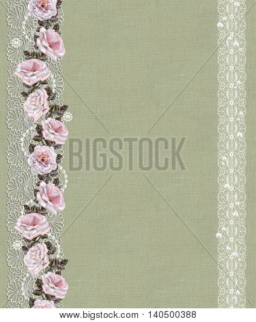 Pattern seamless. Old style. Fine weaving mosaic. Lace curls of the pearls. Vintage background. Vertical floral border.Garland of pale pink and pastel roses.
