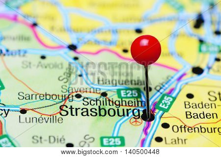Strasbourg pinned on a map of France