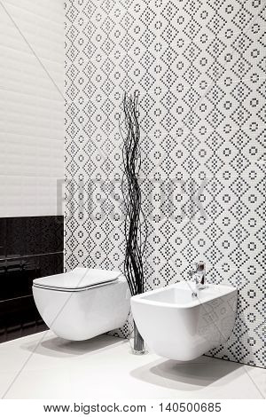 Modern of bath room with white toilet bowls