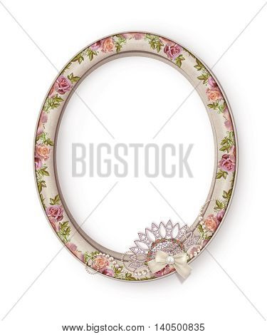 Oval photo frame. Flower composition. Openwork lace weaving of pearls. Vintage pastel roses. Old style. Isolated.