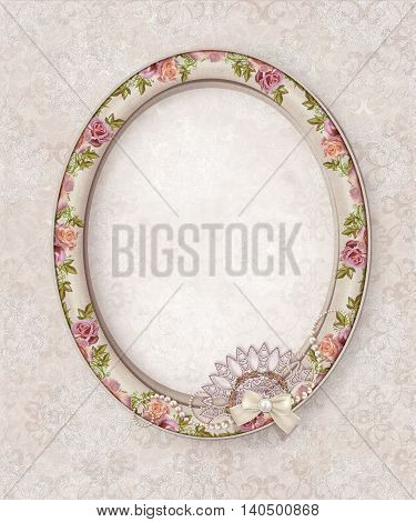 Oval photo frame. Flower composition. Openwork lace weaving of pearls. Vintage pastel roses. Old style.