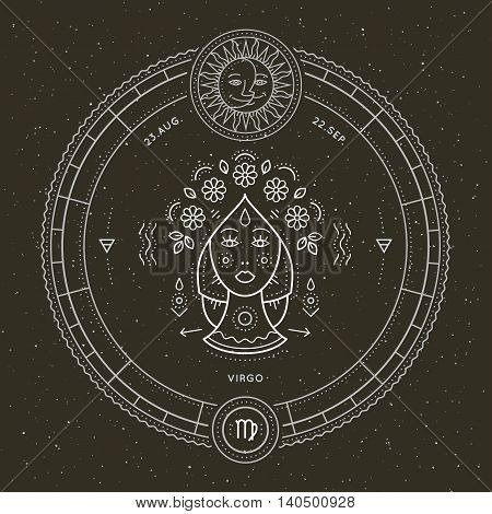Vintage thin line Virgo zodiac sign label. Retro vector astrological symbol, mystic, sacred geometry element, emblem, logo. Stroke outline illustration.