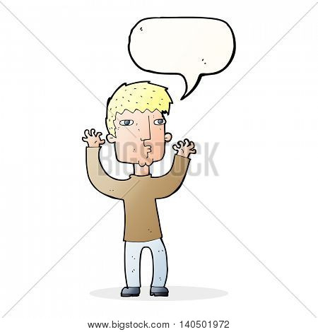 cartoon anxious man with speech bubble