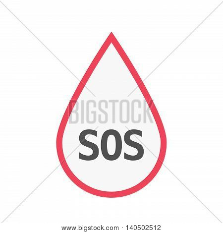 Isolated Line Art Blood Drop Icon With    The Text Sos
