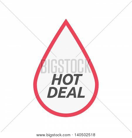 Isolated Line Art Blood Drop Icon With    The Text Hot Deal