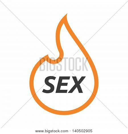 Isolated  Line Art Flame With    The Text Sex