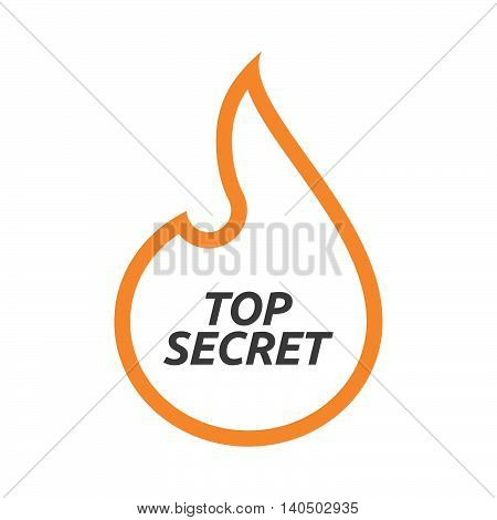 Isolated  Line Art Flame With    The Text Top Secret