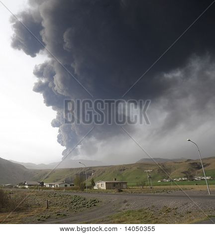 Iceland ash cloud in sky