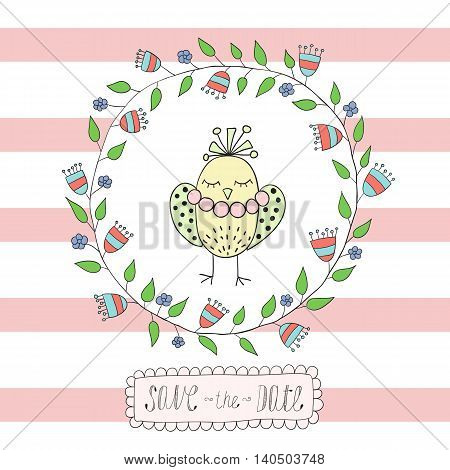 Greeting card, invitation in a blue strip with a frame of flowers and leaves with an bird inside.