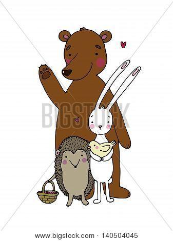 Cute cartoon bear, hedgehog, hare and bird.Hand drawn vector illustration on a white background.