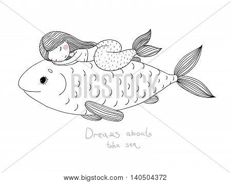 Beautiful little mermaid and big fish.Hand drawn vector illustration on a white background.