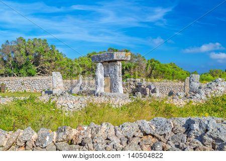 Ancient stone table at the Talaiot y Taula de Trepuco, Menorca island, Spain.