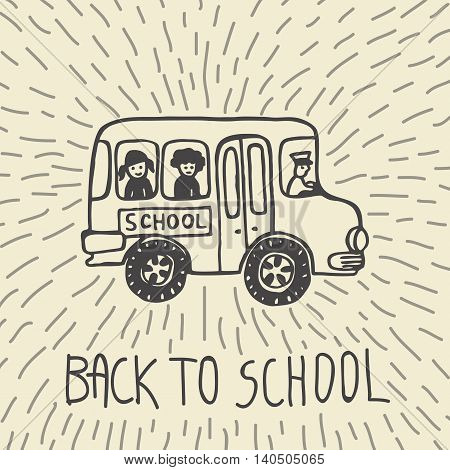 Back to school hand drawn doodle card with school bus. The school bus on beige background