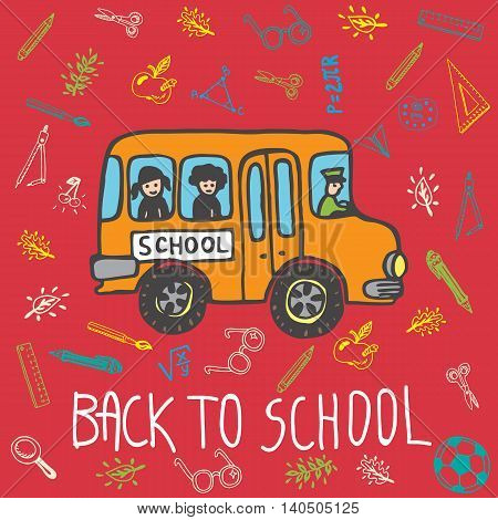 Back to school hand drawn doodle card with school bus and other school facilities. The school bus on red background