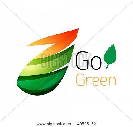 Minimalistic modern abstract leaf design, nature logo. illustration