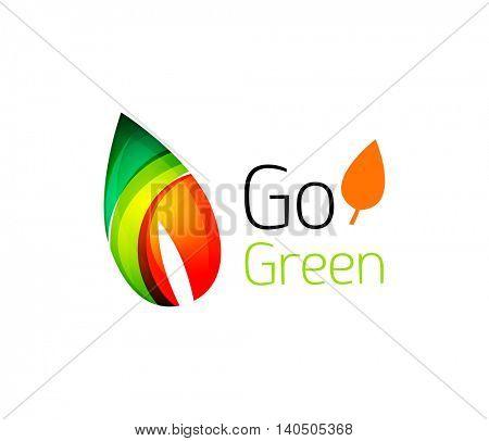 Abstract leaf icon. Eco nature geometric logo. illustration