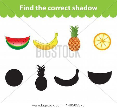 Children's educational game find correct shadow silhouette. Fruit set the game to find the right shade. Vector illustration