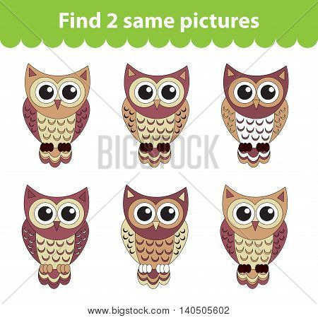 Children's educational game. Find two same pictures. Set of owl for the game find two same pictures. Vector illustration.