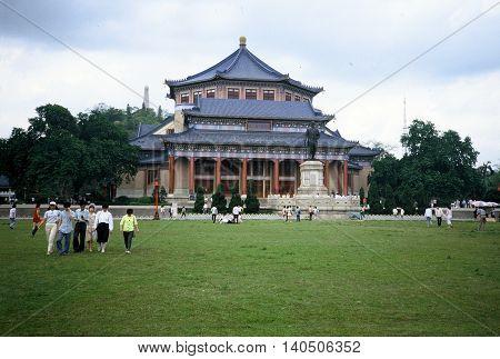 GUANGZHOU / CHINA - CIRCA 1987: People visit the Sun Yat Sen Memorial Hall in Guangzhou.