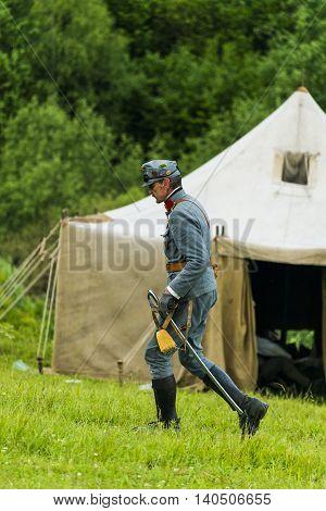 Snina Slovakia - May 28 2016: Military historical reconstruction battles of World War I Karpaty 1914/1916. Participant of event expects to begining reconstruction near Snina Slovakia.