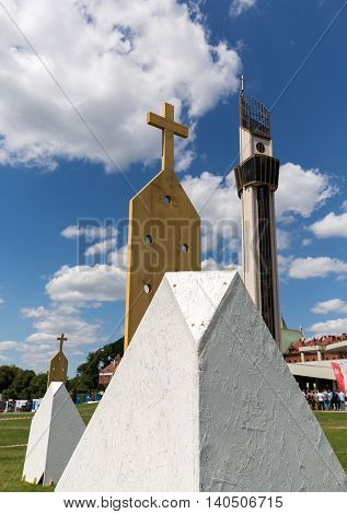 CRACOW POLAND - JULY 22 2016: Zone of Reconciliation at the Sanctuary of Divine Mercy in Lagiewniki. WYD participants will be able to confess to more than 50 additional confessionals. Cracow Poland