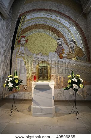 CRACOW POLAND - APRIL 29 2016: Interior of the main upper church in Centre of the Pope John Paul II in Cracow Poland