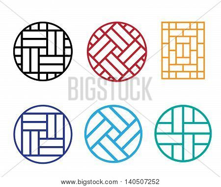 Set of Circle Chinese pattern window frame vector