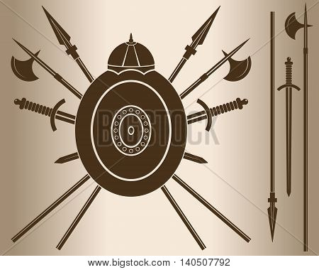 Medieval Sword And Shield. Decorative element. Emblem - a shield with a helmet and cold steel. Vector illustration.