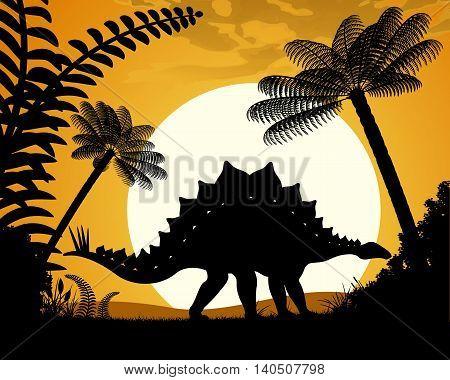 Dinosaur Stegosaurus. Stegosaurus silhouette on sunset background. Vector illustration.