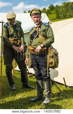 Snina Slovakia - May 28 2016: Military historical reconstruction battles of World War I Karpaty 1914/1916. Participants of event expects to begining reconstruction near Snina Slovakia.