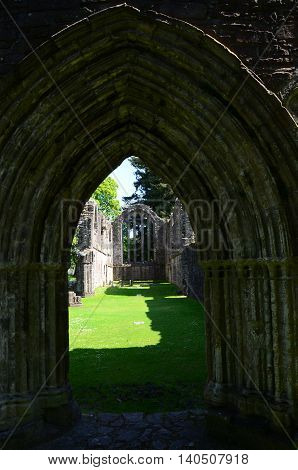 A view of the entrance archway into Inchmahome priory