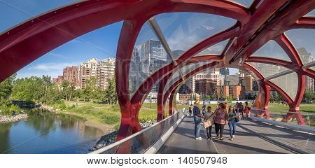 CALGARY, CANADA - JULY 8: Inside the Peace Bridge which spans the Bow River on July 8, 2016 in Calgary, Alberta. The Peace Bridge was designed by celebrity architect Santiago Calatrava.
